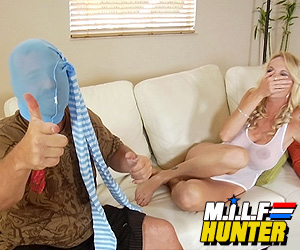 "Blonde Milf laughs at ""Hunter""."