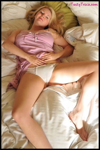 Looking sweet in white panties & lavender nightgown.