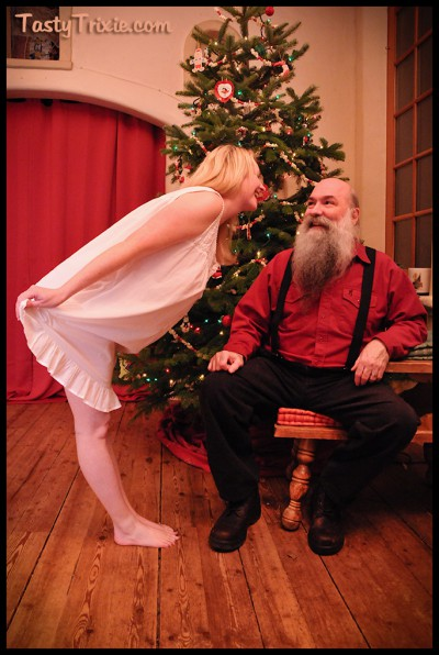 greeting Santa in modest white nightgown