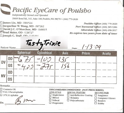 My prescription as of January 2009