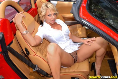 Milf Renee: hot car upskirt in mesh panties