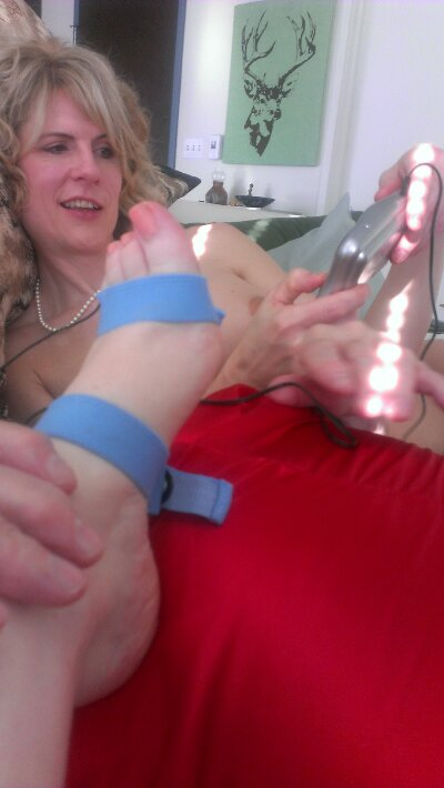 my foot wired for e-stim fun